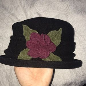 Fancy Black Hat with Red Flower